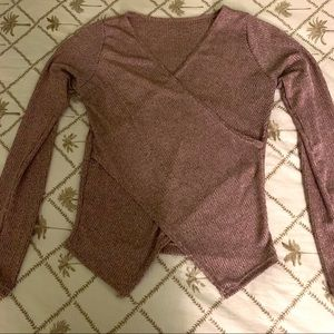 Dusty Rose V Neck Long Sleeve SlimCross Wrap shirt